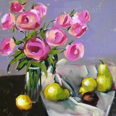 """Angela Moulton: """"Pink Roses and Fruit"""""""
