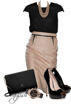 Black and blush is interesting, with the blush on the skirt, not the top. Cute details on the skirt. don't care for the neckline or sleeves on the top. Classy Outfits, Chic Outfits, Fashion Outfits, Womens Fashion, Office Outfits, Business Outfits, Business Fashion, Office Fashion, Work Fashion