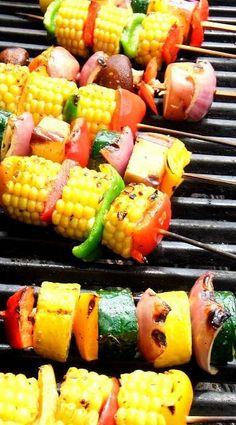 grilled vegetable skewers....  #summer #patio #party