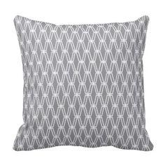 Diamonds Geometric Pattern - Gray White Pillows #decorativethrowpillows