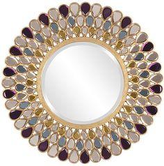 round mirrors grace jeweled round mirror 40 decorative - Round Decorative Mirror