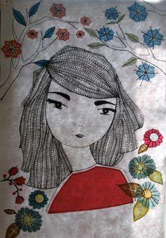 machine sketch stitching and applique Portrait Embroidery, Embroidery Applique, Cross Stitch Embroidery, Machine Embroidery, Thread Painting, Fabric Painting, Fabric Art, Applique Patterns, Applique Designs