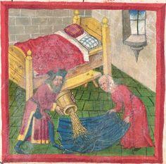 And a nice little bench! Medieval Houses, Medieval World, Medieval Art, Medieval Manuscript, Illuminated Manuscript, Renaissance, Medieval Bedroom, Medieval Furniture, Medieval Paintings