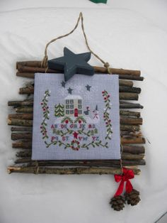 """A la belle étoile"" C Mon Monde Lots of beautiful finishing ideas here! Cross Stitch House, Xmas Cross Stitch, Beaded Cross Stitch, Crochet Cross, Cross Stitching, Cross Stitch Embroidery, Cross Stitch Patterns, Embroidery Patterns, Cross Stitch Christmas Ornaments"