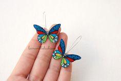 Butterfly dangle earrings Butterfly jewelry by lacravatteduchien