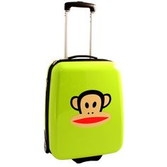 The iconic Julius kids luggage by Paul Frank - http://kidsdotravel.co.uk/childrens-suitcases/suitcases-for-boys/paul-frank-solid-lime-julius-suitcase