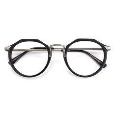 The Matsuda Eyewear | M2028 in Matte Black/Antique Silver is a flat topped pantos for men and women made of hand finished Japanese acetate featuring hardware originally developed over 25 years ago for the first collection. Available in 2 colors.