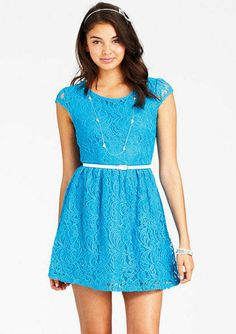 Blue laced casual dress