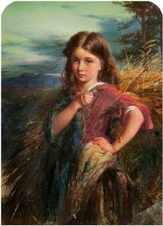 "DecoArt24.pl - Robert Inerarity Herdman (1829 – 1888, Scottish) , painting - "" The Gleaner """