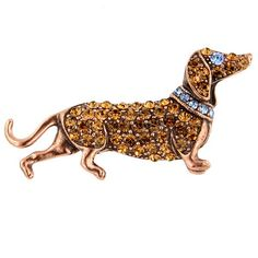 Brown Topaz Swarovski Dachshund Brooch. No idea what I would actually DO with this, but its pretty darn cool.