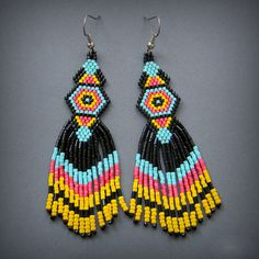 Bohemian beaded earrings Long colorful earrings by HappyBeadwork