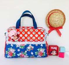 CUTE diaper bag made with Strawberry Biscuit fabrics designed by Elea Lutz #ilovepennyrose #fabricismyfun