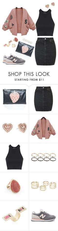"""Pink&black outfit"" by riafrost ❤ liked on Polyvore featuring RED Valentino, Topshop, Michael Kors, WithChic, ASOS, Andara, Maria Francesca Pepe and New Balance"