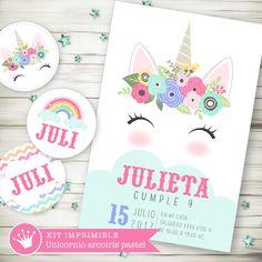 Kit imprimible digital para cumpleaños unicornio con flores pastel.Shabby chic, estilo romántico. Colores pastel. Invitación digital. Decoración de fiestas infantiles y eventos.  Printable party unicorn.
