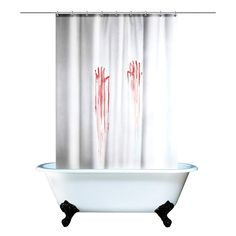 Blood Bath Shower Curtain Hilarious decoration for Halloween parties and year round horror enthusiasts! You WILL end up laughing at somebody's screaming, it's a guarantee XD Shower Curtain Rings, Bathroom Shower Curtains, Bath Shower, Halloween 2018, Scary Halloween, Halloween Party, Halloween Gifts, Halloween Decorations, Halloween Ideas