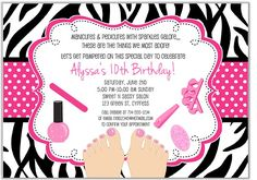 Custom Cute Manicure Spa Birthday Party Invitation created by alleventsinvitations. This invitation design is available on many paper types and is completely custom printed. Spa Party Invitations, Free Printable Birthday Invitations, Birthday Template, Pink Invitations, Glamour Party, Makeover Party, Girl Makeover, Girl Spa Party, Spa Birthday Parties