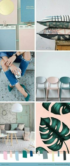 Färgkombination Loving this combo of soft pinks and blues with grey and teal tones. (image credits clockwise from top left) 1 Color Inspiration, Interior Inspiration, Moodboard Inspiration, Pantone, Deco Pastel, Interior Design Trends, Interior Colour Schemes, Mood Colors, Colours
