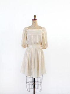 vintage 70s dress / Cream Peasant Mini Dress by 86Vintage86, $124.00