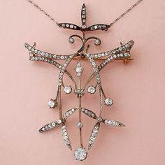 Art Nouveau Necklace Old Mine-cut Diamonds Antique