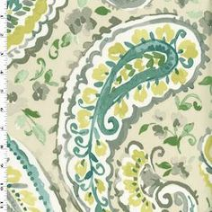 -Watercolor themed paisley print cotton twill woven-From P Kaufmann Fabrics-Weight: Medium-Transparency: Opaque-Hand: Dry-Stretch: No Stretch-Drape: Full Body Drape-Luster: Matte-End Uses: Window Drapery, Decorative Pillowcases, Light Upholstery, more-Compare to $26.00/ydNeed a Sample? Order 1/8yd.