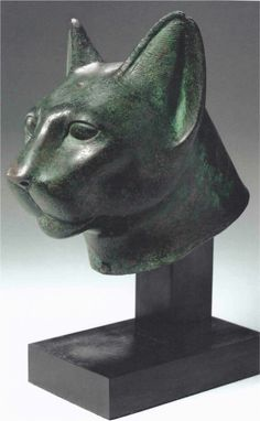 Egyptian - Head of a cat, Late Period Egyptian Cats, Ancient Egyptian Art, Ancient Egypt Animals, Eclectic Sculptures, Egyptian Decorations, Cat Statue, Ancient Artifacts, Old Art, Altars