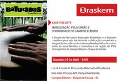 """Agenda Cultural RJ: A Escola de Percussão Batucadas Brasileiras e a Braskem promovem, nos dias 14 e 15 de abril (quinta e sexta-feira), às 8:00 horas, no Parque Marilândia, em Campos Elíseos, no município de Duque de Caxias, o evento """"MOBILIZAÇÃO PELA UNIÃO E DIVERSIDADE DAS COMUNIDADES DE CAMPOS ELÍSEOS E REGIÃO"""", uma iniciativa importante de mobilização comunitária e contribuição para a integração de professores e alunos da rede pública de ensino, junto às suas famílias e moradores da…"""