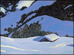 Artwork by Frances Hans Johnston, Snowed In, Made of tempera on board Emily Carr, Canadian Painters, Canadian Artists, Franklin Carmichael, Group Of Seven Paintings, Tom Thomson Paintings, Diy Art Projects, Winter Art, Winter Landscape
