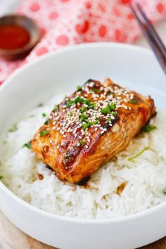 Honey Sriracha Salmon - easy, spicy, sweet, and savory, this glazed salmon recipe is awesome, from the SkinnyTaste cookbook | rasamalaysia.com