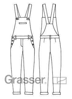 Flat Drawings, Flat Sketches, Apron Designs, Jeans Jumpsuit, Technical Drawing, Fashion Flats, Pattern Books, Dress Patterns, Doll Clothes