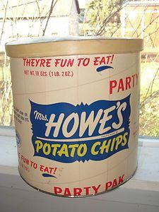 Mrs Howes POTATO CHIPS - CARDBOARD-TIN #Chips #Dips #Salsa #Potato #Kettle #Corn #Rice