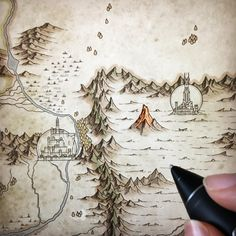 Fantasy Map Making, Fantasy World Map, Fantasy Art, John Howe, Rpg Map, Dungeon Maps, Sketch Painting, Map Design, Fantasy Landscape