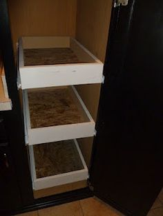 Installing custom sliding drawers in storage closet. We need these in the kitchen, bedroom, bathroom, closet. Kitchen Organization, Kitchen Storage, Household Organization, Closet Storage, Kitchen Sink, Sliding Shelves, Sliding Drawers, Storage Cabinets, Pantry Cabinets
