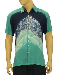 5c099671 Check out the deal on Rayon Tie Dye Dress Hawaiian Shirt Tropical Shadow  Teal at Shaka Time Hawaii Clothing Store