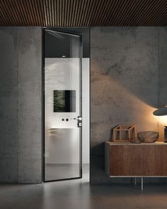 Hinged flush-fitting glass door BISYSTEM Design Series by GAROFOLI
