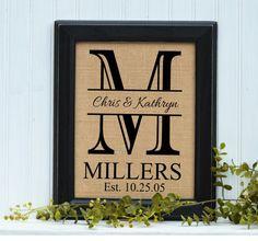 framed burlap print personalized wedding gift wedding gift monogram housewarming gift