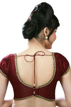 Dark #maroon raw #silk angelic #blouse with deep blunt v neck -BL599