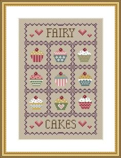 Fairy Cakes cross stitch chart PDF instant download