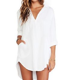 Cheap mini dress, Buy Quality vestidos plus directly from China dress plus Suppliers: 2018 Summer Style Women Long Tops Sexy V Neck Pocket Solid Long Sleeve Casual Loose Mini Dress Vestidos Shirts US Plus Size Chiffon Shirt Dress, Long Sleeve Shirt Dress, Dress Long, Sleeve Dresses, Dress Shirts, Chiffon Dresses, Chambray Dress, Tunic Blouse, Dress Clothes