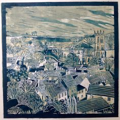 Alison Headley monoprint and Linocut (2015) A View of Dorset - in blue and grey