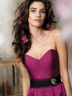 magenta color taffeta sweetheart bridesmaid ball gown with black ribbon