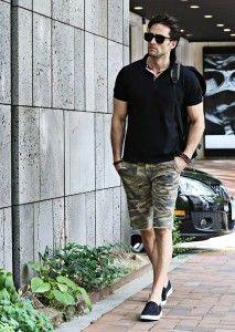Entre as estampas mais usadas para short masculino está a camuflada.