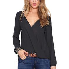 2015 Casual Chiffon mulheres camiseta Sexy profundo decote em v Blusas de verão preto branco vermelho de manga comprida Tops sólidos Plus Size Blusas soltas