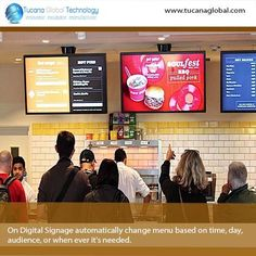 On #DigitalSignage automatically change #menu based on time, day, #audience, or when ever it's needed. ‪#‎TucanaGlobalTechnology‬ ‪#‎Manufacturer‬ #HongKong