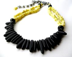 Black and Yellow Beaded Necklace  Onyx and by BigSkiesJewellery