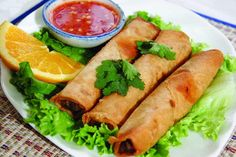 Brimming with vegetables and lots of flavour, these spring rolls make a great appetiser or party food. And they're surprisingly easy to make. Thai Spring Rolls, Fried Spring Rolls, Thai Recipes, Asian Recipes, Vegetarian Spring Rolls, Vegetarian Lunch, Vegetarian Recipes, Sweet Chilli Sauce, Great Appetizers