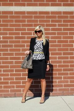 This is good if you want to hide any stomach or bloating. Peplum top or regular blouse with a bright belt. Can be worn with skinny/tight work pants or a pencil skirt.