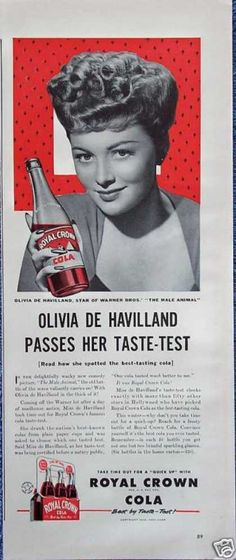 Royal Crown Cola RC Olivia De Havilland Pass Test (1942)  Recognize the Law & Order SVU star's mom?