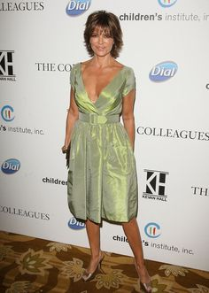 Lisa Rinna Evening Dress - Lisa Rinna was certainly evoking spring at the Colleagues 21st annual luncheon in her iridescent lime green dress. The ladylike silhouette with belted waist and cap sleeves looked absolutely lovely.