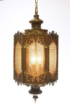 brass hollywood regency baroque swag light with hexagon shape vintage victorian