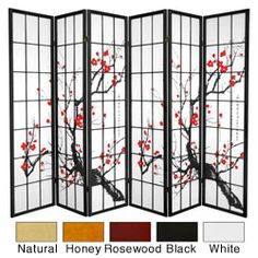 @Overstock - This large pane room divider shows lovely Japanese brush art depicting a cherry tree in bloom, printed on the front of the shades. Display this six-panel screen as an art screen or use for privacy and to define any space.http://www.overstock.com/Worldstock-Fair-Trade/Wood-6-foot-6-panel-Flower-Blossom-Room-Divider-China/4104950/product.html?CID=214117 $269.99